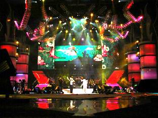 Central stage is decorated with big-wide LED and color LED screen effects.